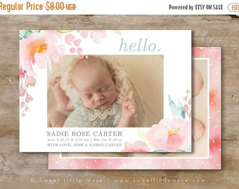 ON SALE Watercolor Girl Birth Announcement Template - 5x7 birth announcement template - newborn girl photography template  INSTANT Download