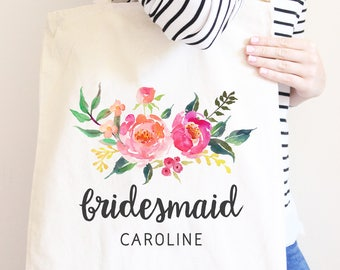 Bridesmaid Canvas Tote Bag, Gift For Wedding Party