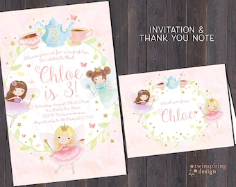 Fairy Tea Party Birthday Invitations and/or Thank You Notes with Envelopes | Fairies Stars Butterflies