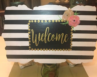 Welcome Door Hanger Black & White with Floral   Flowers