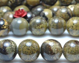 37 pcs of Natural Yellow Grass flower stone smooth round beads in 10mm (06732#)