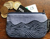 Hand printed coin purse notions pouch