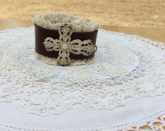 Brown Leather & Lace Cuff Bracelet with Cream Color Cross  / Item #B1123