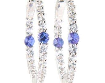 """Sterling Silver 1"""" 4.9ctw AA+ Tanzanite & White Zircon Hoop Earrings"""