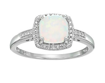 Sterling Silver Cushion Created Opal & Diamond Ring, Size 7