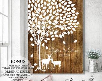 Guest Book Alternative Wedding Guest Book Tree Wedding Tree - Wedding Signs Wood Wedding Gift Bridal Shower Gift - Wedding Canvas Poster
