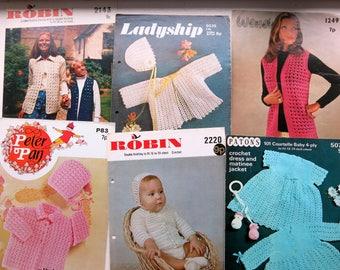 13 vintage crochet patterns - original crochet patterns - women's crochet  patterns -uk - babies crochet patterns