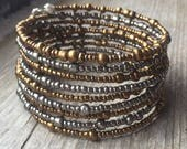 Mixed Metal Colors Multi Coil Memory Wire Wrap Bracelet