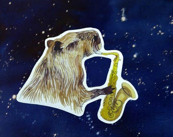 Jazzy Capybara sticker