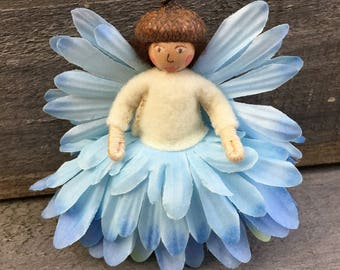 Blue and white flower fairy