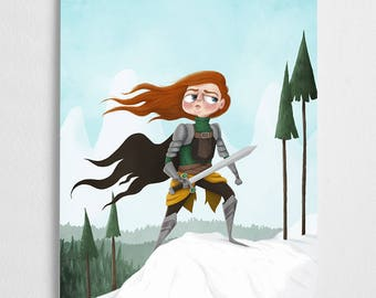 Strong woman art print, winter snow illustration // Soldier