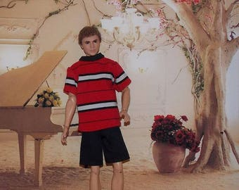 Red & Black Shirt and Black Shorts for Male Fashion Dolls. (Clothes only, Ken doll not included)