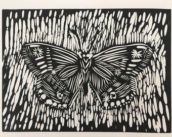 Butterfly linocut print