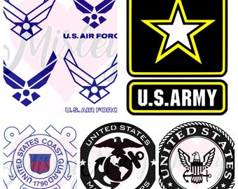 United States Armed Forces Emblem Bundle SVG, PNG, and STUDIO3 Cut Files for Silhouette Cameo/Portrait and Cricut Explore DIY Craft Cutters