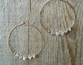 Rose gold hoops with herkimer diamonds 2 inches