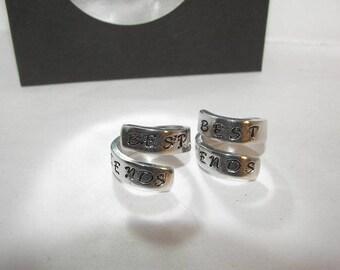 Best friend rings, hand stamped jewelry,  custom stamped ring, friends rings, handstamped ring, wrap ring,  best friend gift