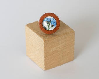 Handmade wooden ring with glass cabochon, Forget-me-not, flowers , blue, purple, adjustable