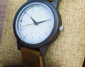 Wooden watch, quartz watch,unisex watch in dark brown natural wood