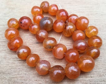 1 string of carnelian beads - round carnelian beads 6 to 9 mm - 15 inches string - jewellery supplies -