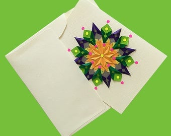 Ready to Ship-Origami Greeting Card-Handmade-Mandala Design-One of a Kind