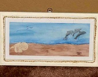 Three Dolphins Mixed Media Wall Art