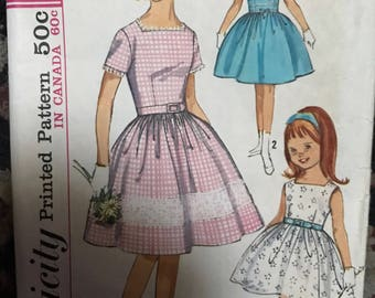 Vintage Simplicity 5376 Girls Dress pattern sz 14