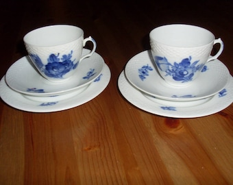 Lovely Set of 2  Royal Copenhagen Denmark 2 Cups  2 Saucers 2 Plate Porcelain Hand Painted Blue Flowers and Braided Detail Numbered