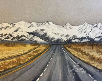 "Watercolor Highway ""Road to Somewhere"" - Giclee Print"