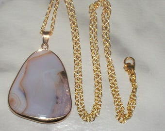 Milky Natural Agate Pendant w/Chain