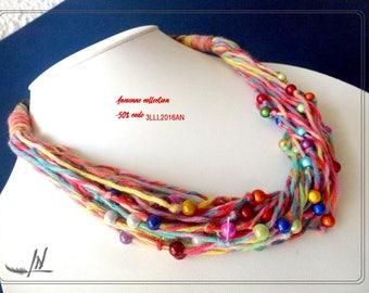 Necklace MULTISTRAND cotton textile and multicolored magic pearls