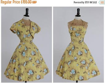 ON SALE Vintage original 1950s 50s cotton dress in sunshine yellow with blue rose print UK 6 8 Us 2 4 Xs S
