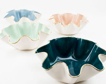 "Size B- Small/Medium wavy shaped handmade ceramic 5-7"" wide x 3"" high bowl w/ 22K gold luster edges wedding Gift, hostess gift, ring dish"