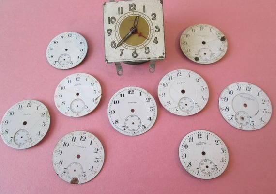 Lot 6 - 9 Assorted Antique and Vintage Ceramic Pocket Watch Dials and 1 Alarm Clock for your Watch Projects - Jewelry Making - Steampunk Art