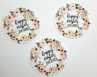 Easter gift tags etsy personalised floral happy easter gift tags tags for easter gift easter party favour tags negle Choice Image