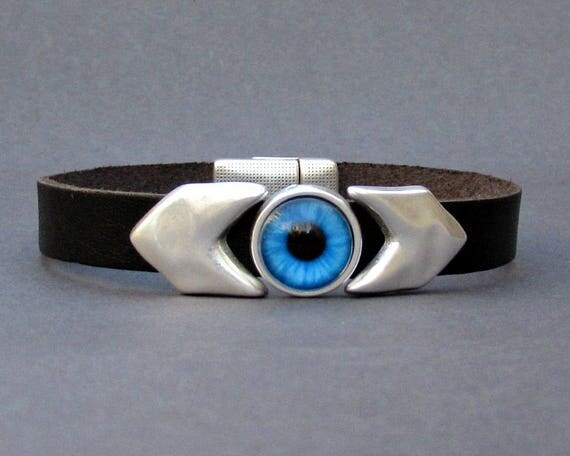 Evil Eye Mens Bracelet Arrow Blue Eye Leather Mens Bracelet Cuff Silver Plating Magnetic Clasp Customized On Your Wrist
