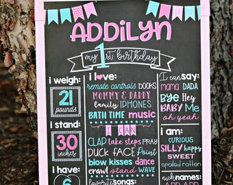 PINK AND AQUA party decorations, Printed Chalkboard Art, Favorite Things, 1st Years Stats, Pink, Turquoise, Girl 1st birthday