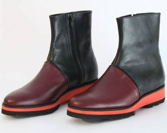 ON SALE Red & Black Platform Boots - Womens Boots - Women Red Chelsea Leather Boots - Red Boots - Black Boots - Hand Made Boots