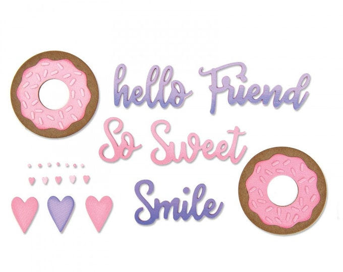Will ship March 20th - Sizzix Tim Holtz Thinlits Die Set 9PK - Phrases, Sweet & Donut by Jen Long 662723
