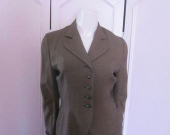 "1950s Brown and Black Rayon ""New Look"" Suit, Size 4 - 6"