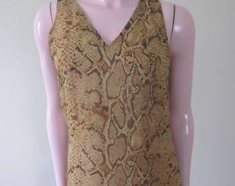 """1990s Pure Silk Snakeskin Print Maxi-Dress by """"Spenser Jeremy,"""" Size 8"""