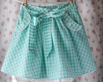 Mint Berry Pink Gingham Girls Party Play Skirt Size 3T, 4T, 5, 6, 7