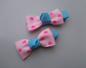 1 pair of clip Alligator Clip bow, pink blue heart shaped