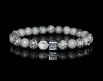 Gray Jasper Stone Bracelet, Bracelet for Man, Gray Jasper and Sterling Silver Bracelet, Bracelet Man, Mens Bracelet, Men's Silver Bracelet