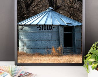 Framed photo paper poster - Red Silo Original Art - Sioux Bin