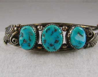 "Beautiful Native American Style Sterling Turquoise Cuff Bracelet ~ 5 1/2"" Interior Measurement"