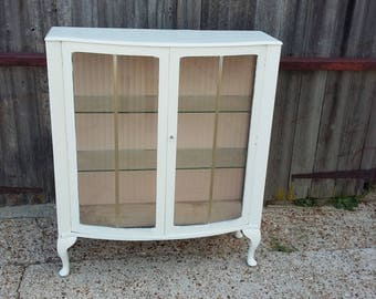 Vintage Painted Shabby Chic Retro Glazed Cupboard With Key COLLECTION ONLY