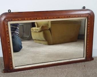 Vintage Inlaid Mahogany Veneered Mirror