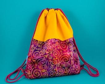 Colorful Turn Bag Backpack, Bright Cotton Bag, Festival Bag
