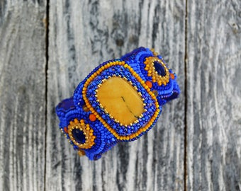 Yellow Jasper Embroidered bracelet Embroidered bead cuff Blue bracelet for her Beaded cuff Bead embroidery cuff Semiprecious stones bracelet