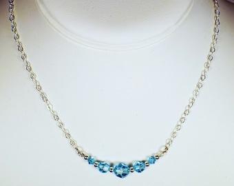 """Cynthia Lynn """"CELEBRATE"""" Sterling Silver Aquamarine Blue Swarovski Crystal March Birthstone Necklace"""